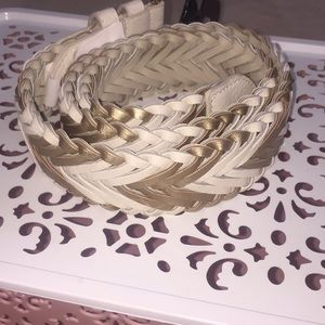 NWT Woven Belt Cream and Metallic S/M